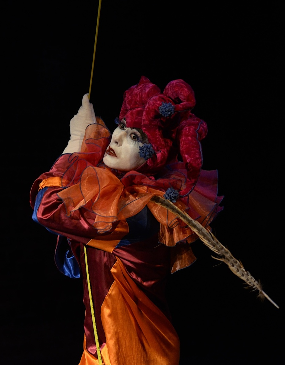 Marina's signature Jester character Jack O'Somebody performing at the La MaMa Experimental Theater, 'Facts of Life'