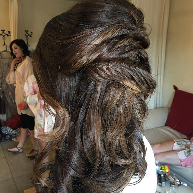 Squeee. Fishtail side updo! It was so fun, and so impossible to get a truly good picture of. #hair #updo #bridehair #btc #behindthechair #wedding #weddinghair