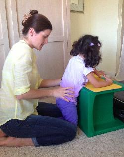 Malia working on kneeling up