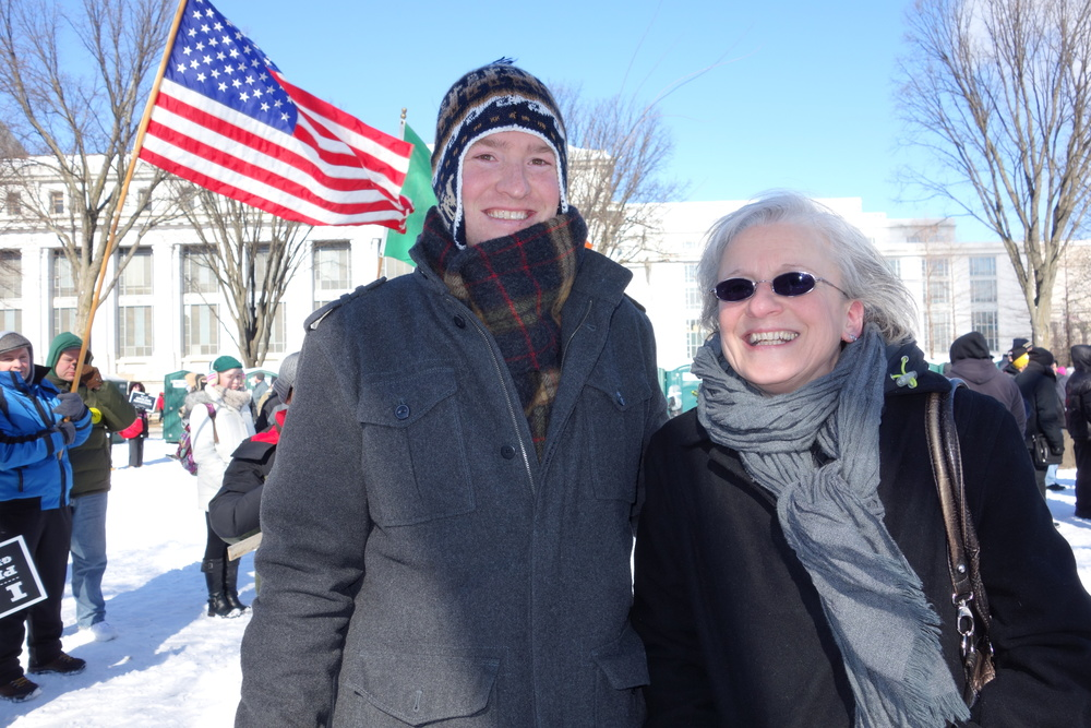 Tim, our Seminarian and brother Knight, with his mother on the Mall prior to the start of the March.