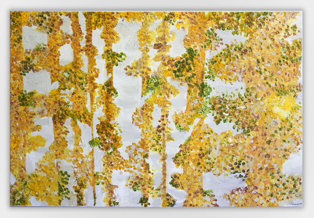 Yellow Aspens by Stephanie Cafasso Acrylic on canvas