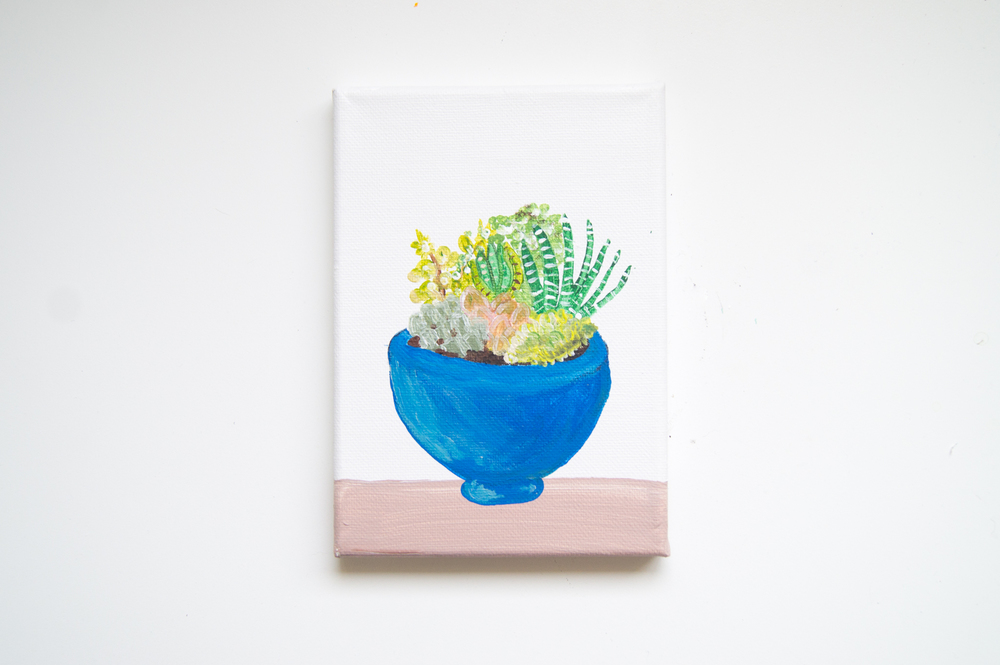 Succulent Garden in Blue Bowl Original Acrylic on Canvas