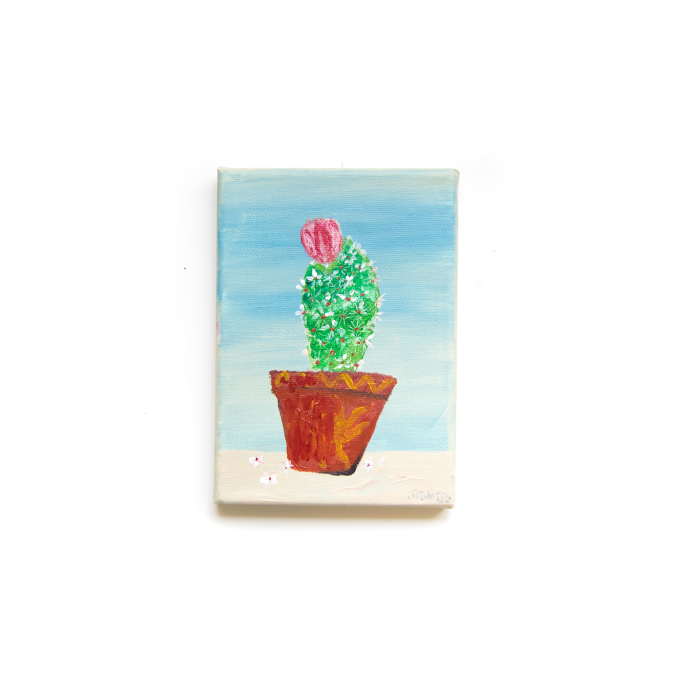 Mini Cactus with Pink Flower Acrylic on Canvas