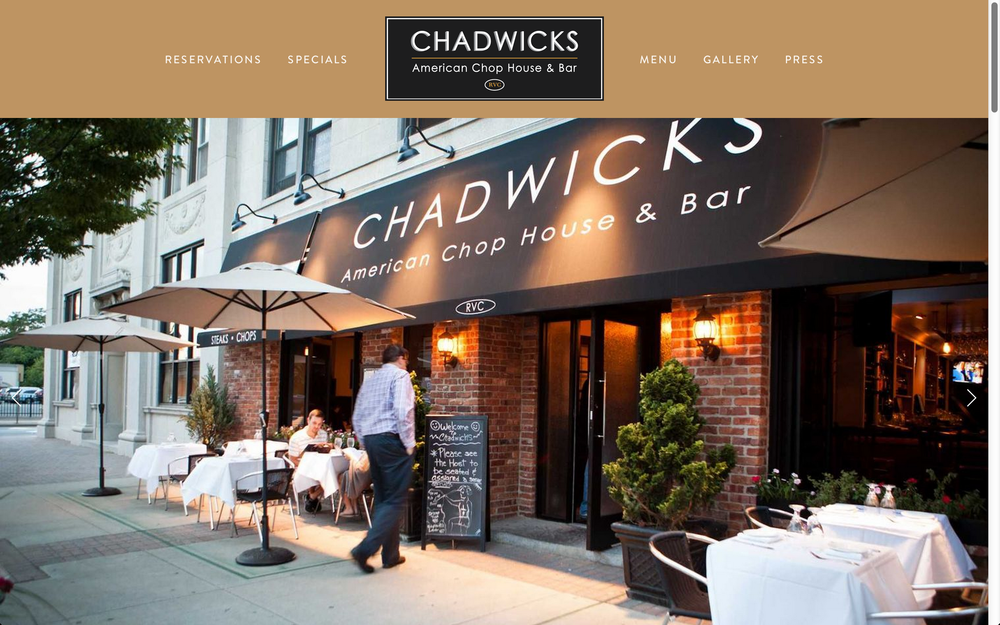 Chadwicks American Chop House & Bar - Landing Page
