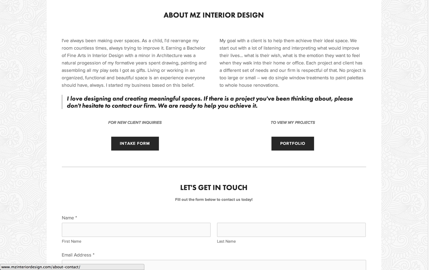 MZ Interior Design Website Design Stephanie Cafasso Design
