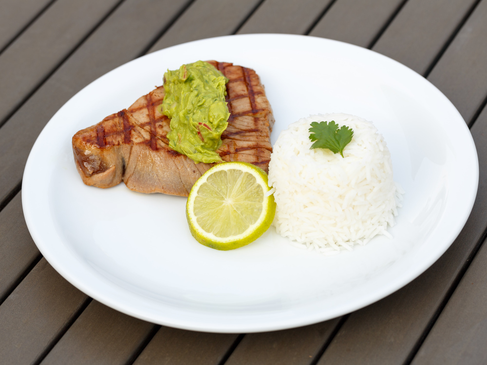 Tuna Steak with Avocado-Wasabi Purée