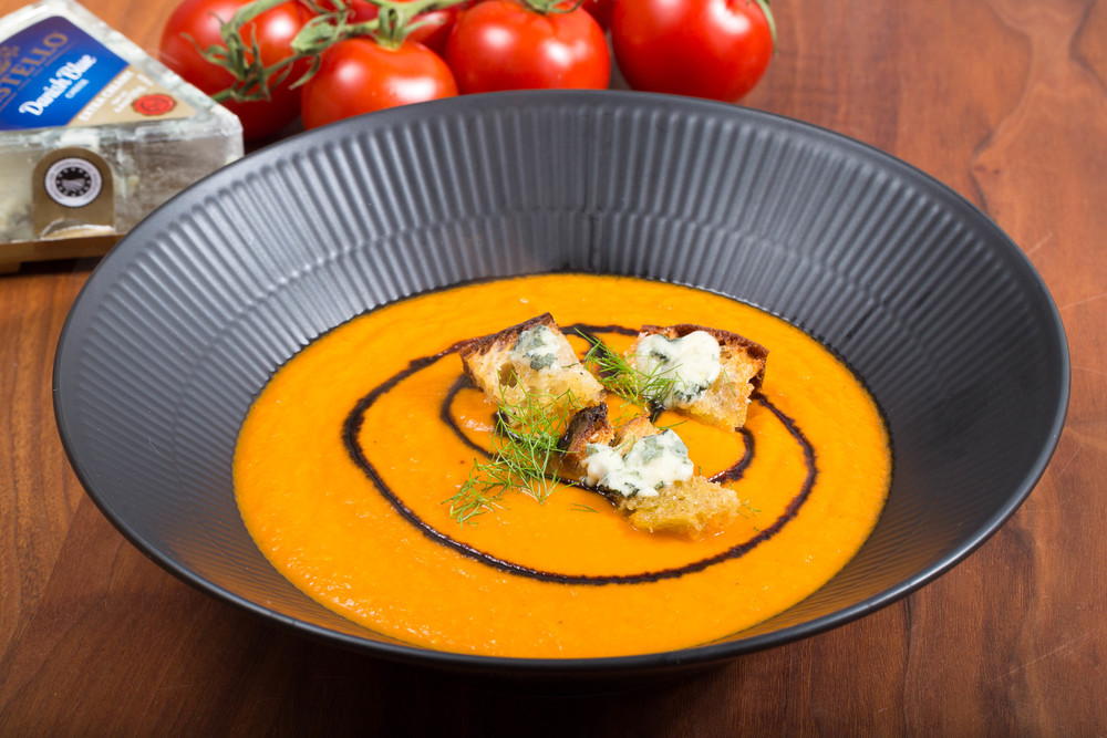 Tomato Soup with Blue Cheese Croutons
