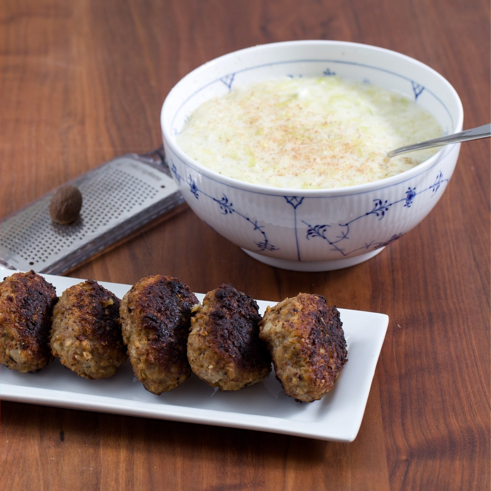 Classic Danish Meatballs with creamed green cabbage.