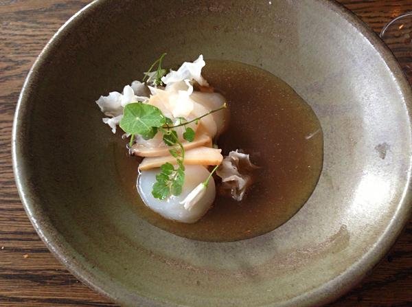 Raw Hervey Bay scallop, oyster broth, king brown mushroom & soy milk