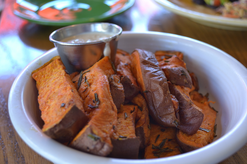 COMFORTED by roasted garnet yams with a side of coconut mint chutney.