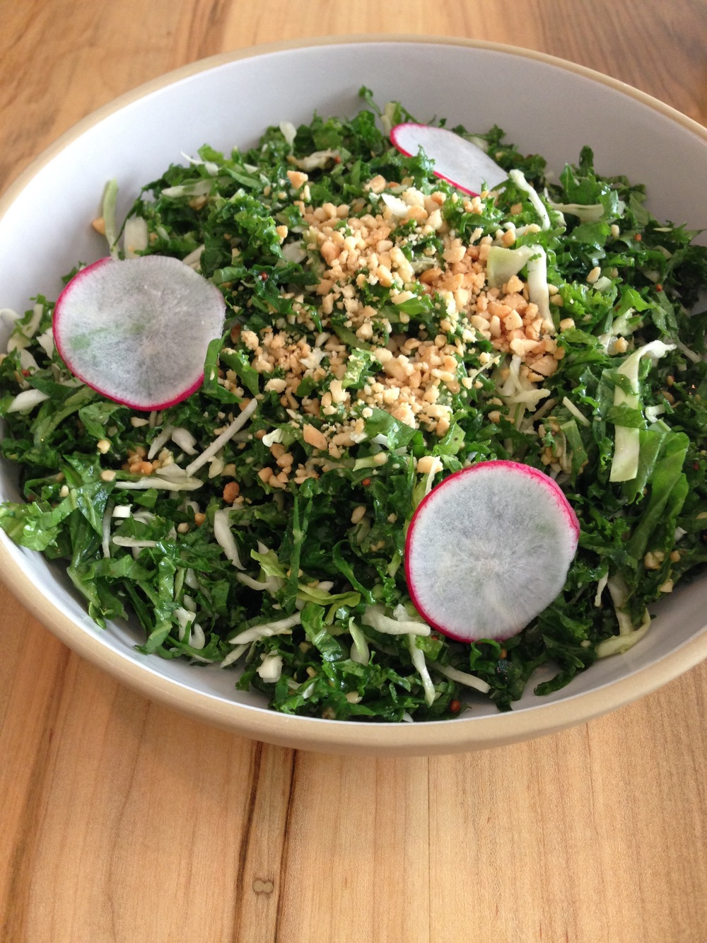 Nom nom nom kale salad...no meat, only deliciousness