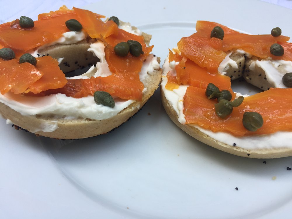 Completely plant-based bagel with carrot lox and almond cream cheese.
