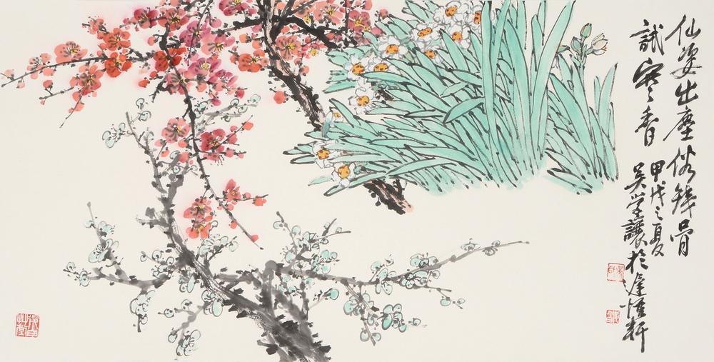 水仙梅花 33.5 x 69 cm  2010 墨彩紙本