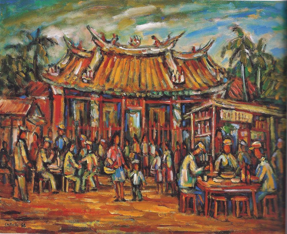 延平北路媽祖廟口 65 x 53cm 2000 油彩畫布