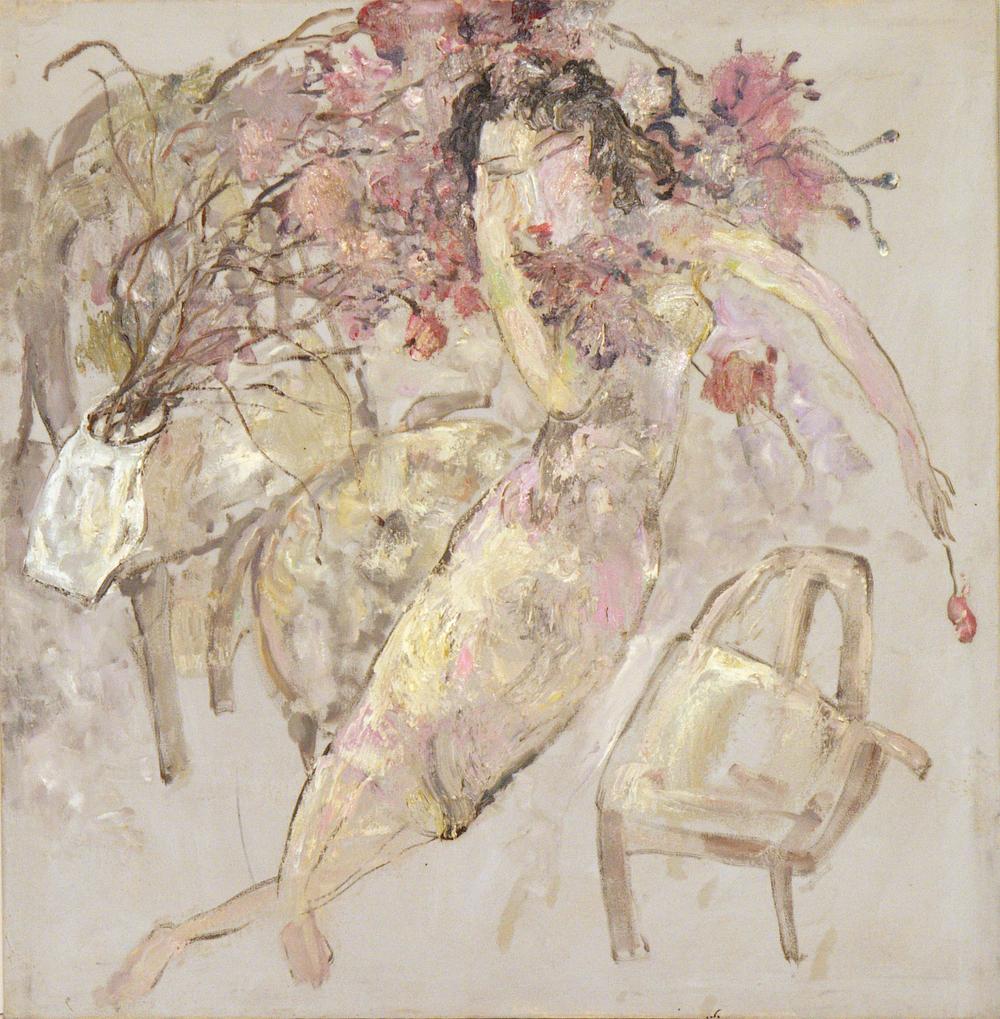 馮曉東 女人與花 81.5x79.5 cm 1996 油彩畫布