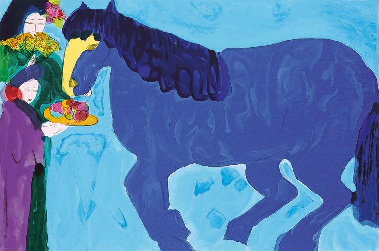 藍色的馬  96x110 cm  1991  石版版畫