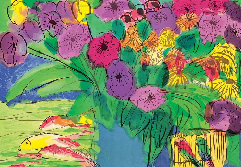 葉花和魚  61x91cm 1990 石版版畫