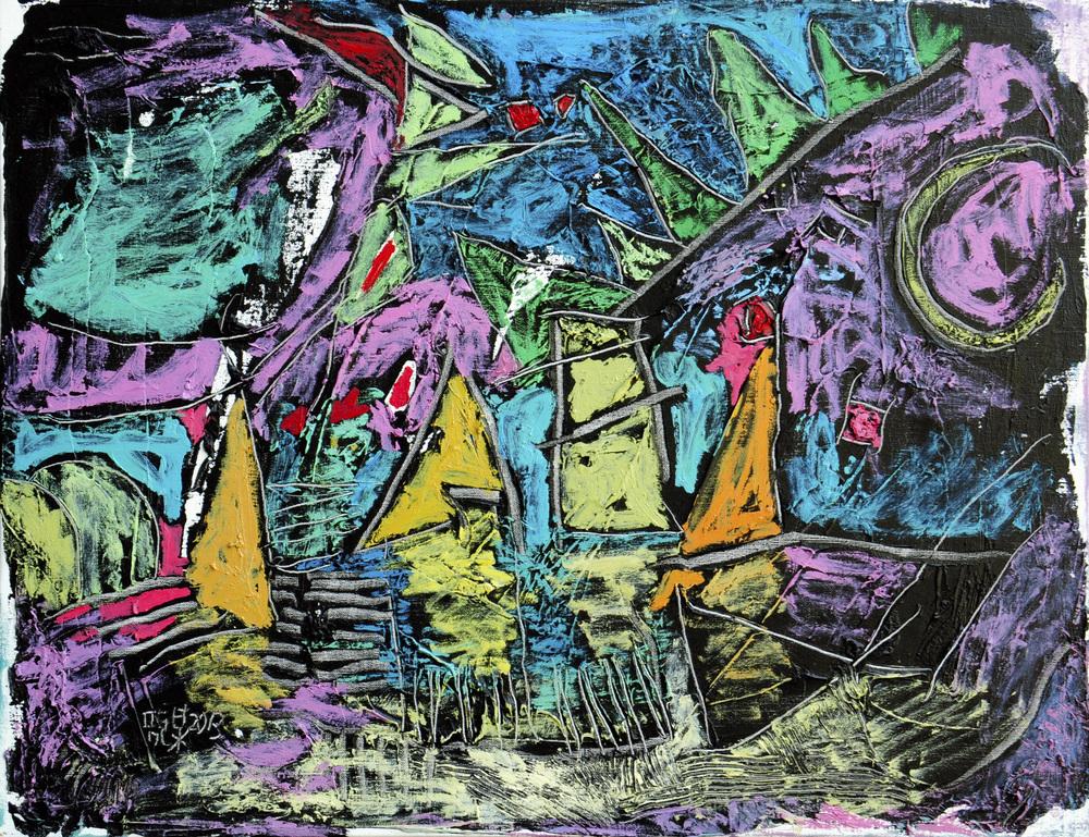 靜月帆影  15P  油畫  2013