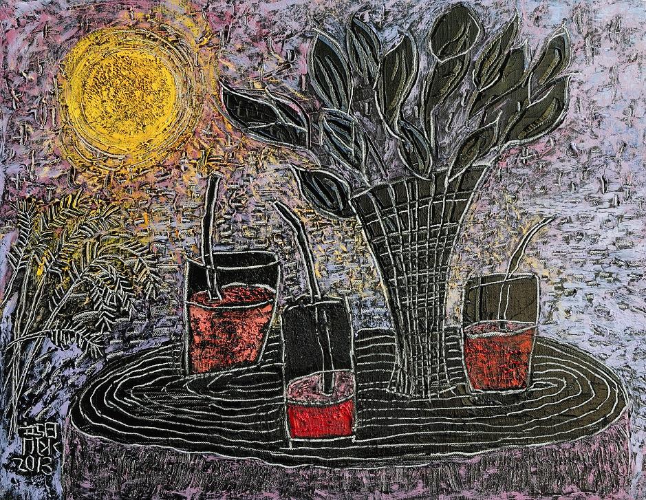 月光與西瓜汁  10P  油畫  2013