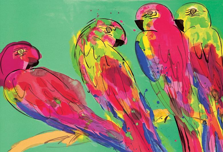 四隻鸚鵡  61x91cm  1990  石版畫