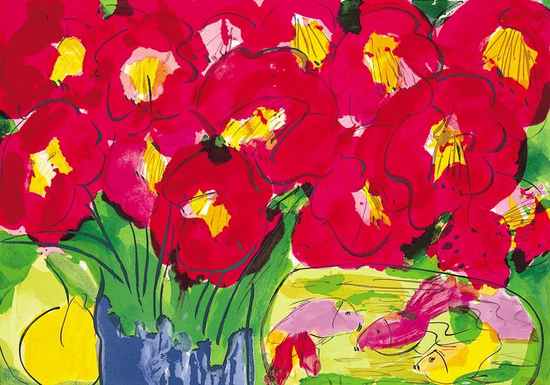 紅花  61x91 cm  1990  石版畫