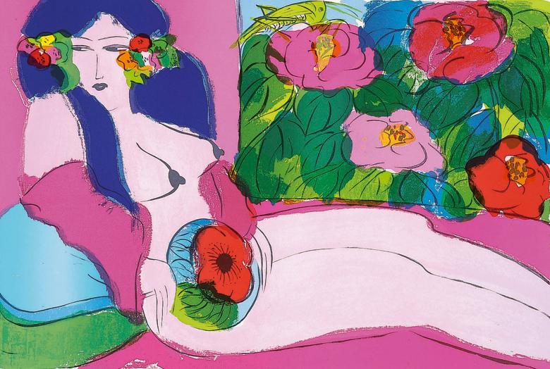 花叢中的女郎  61x91 cm  1985  石版畫