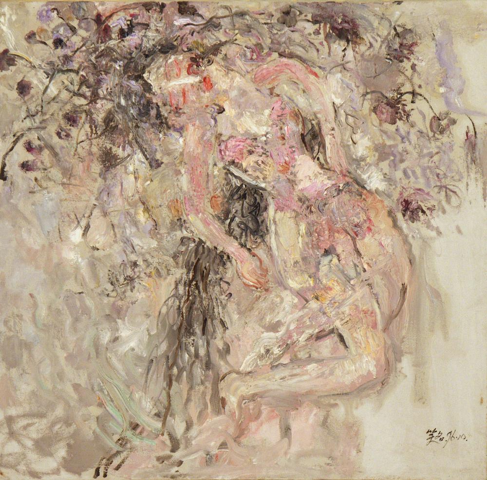 馮曉東 女人與花 80x82 cm 油彩畫布 1996