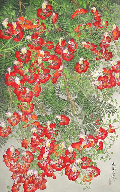 鳳凰花開 138x86 cm 2014 水墨絹本