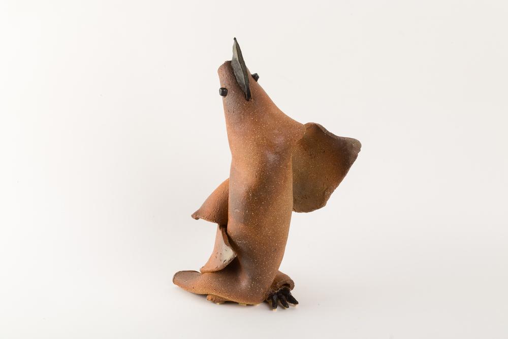 鳥陶塑之一  1997  28x19x41cm