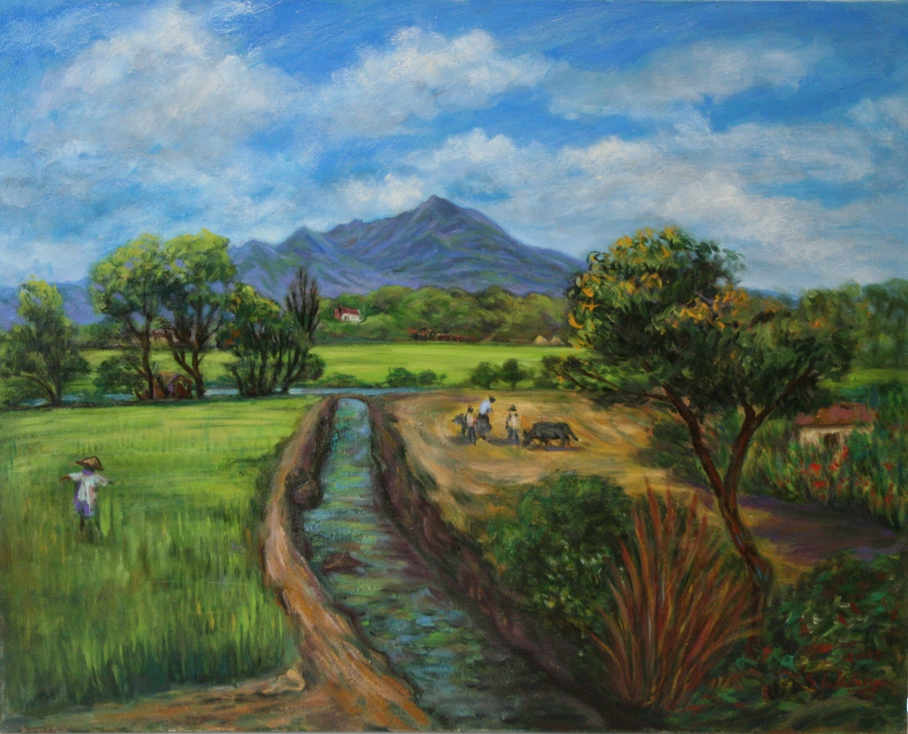 盛夏的關渡農田 30F 91x72.5 cm 油彩畫布 2002