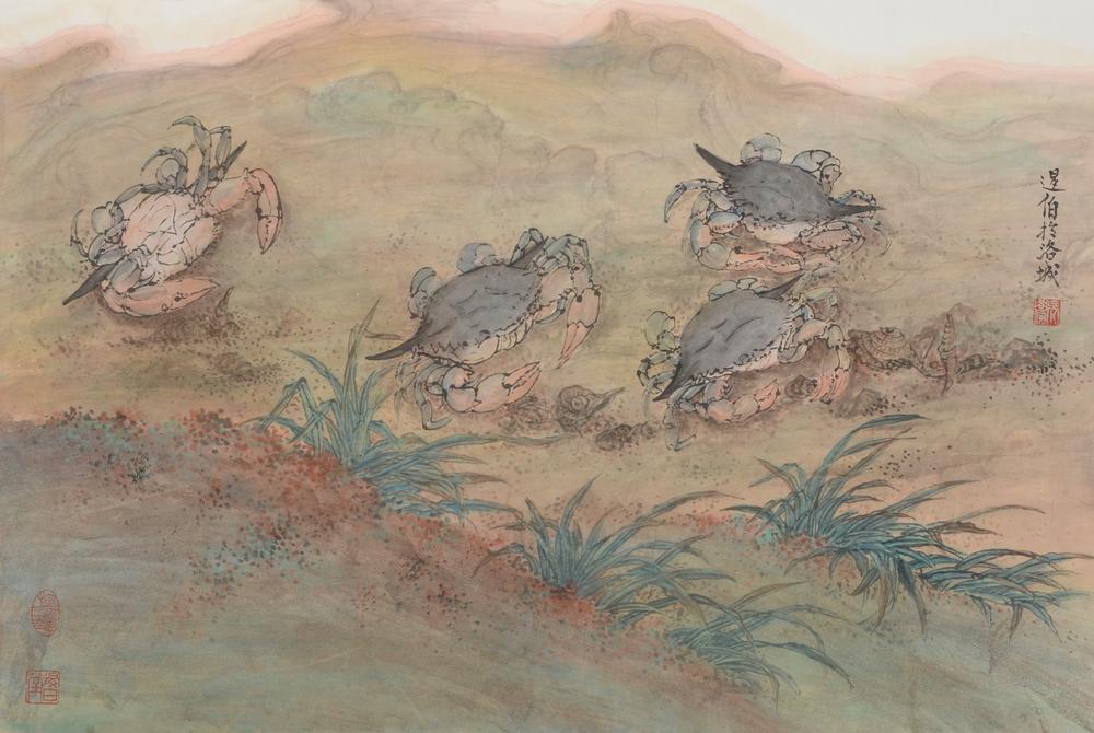 螃蟹圖 46.5x69.5 cm  2011 墨彩紙本
