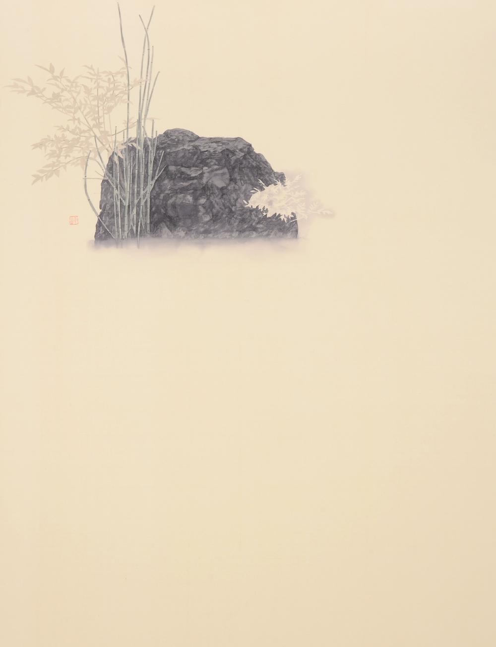幽棲草自生-2  82x107 cm  2015  水墨絹本