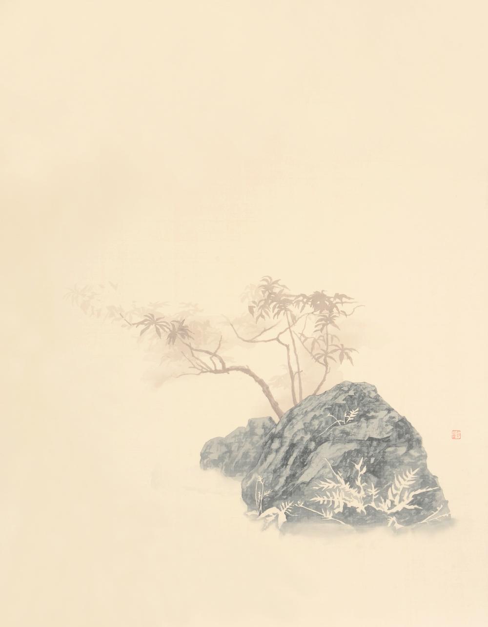 幽棲草自生-3  82x107 cm  2015  水墨絹本