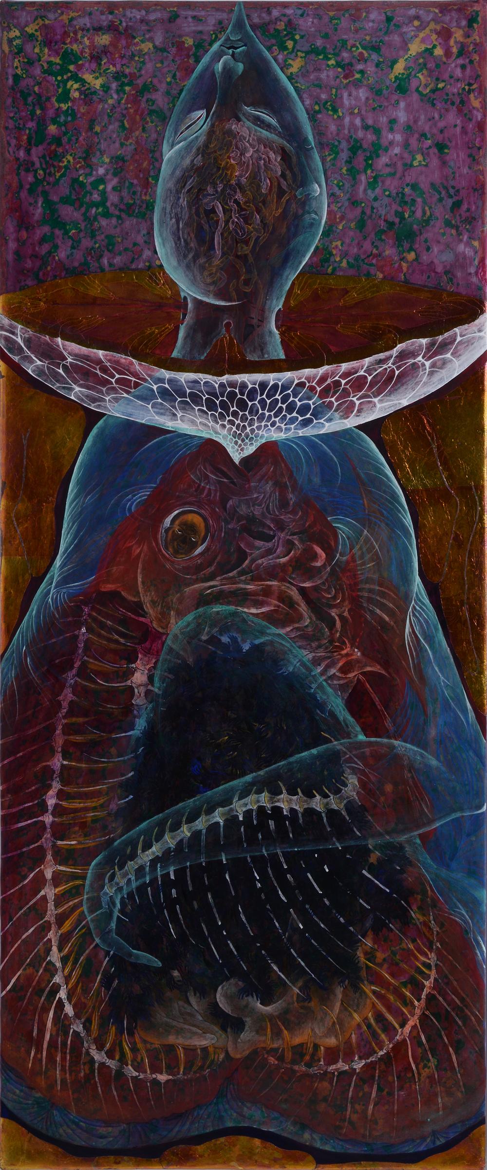 整血鸚鵡  120x45 cm  2014  膠彩壓克力麻布