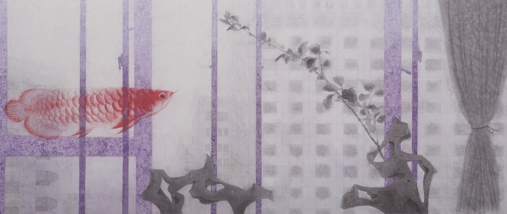 穿--收藏  45.5x100 cm  2015  水墨膠彩