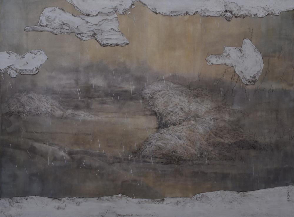 庭的池(一) 67x51 cm 2013-2015 綜合媒材