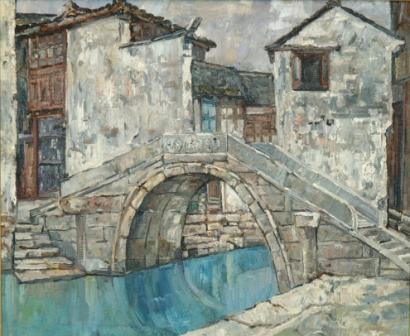 馮曉東 周庄 48x75.5 cm 油彩畫布