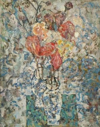 馮曉東 瓶花 90x71 cm 油彩畫布 1996