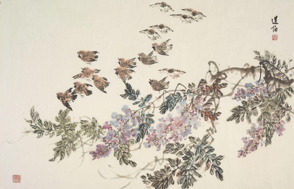 紫藤群雀  107x69 cm  2007  墨彩紙本