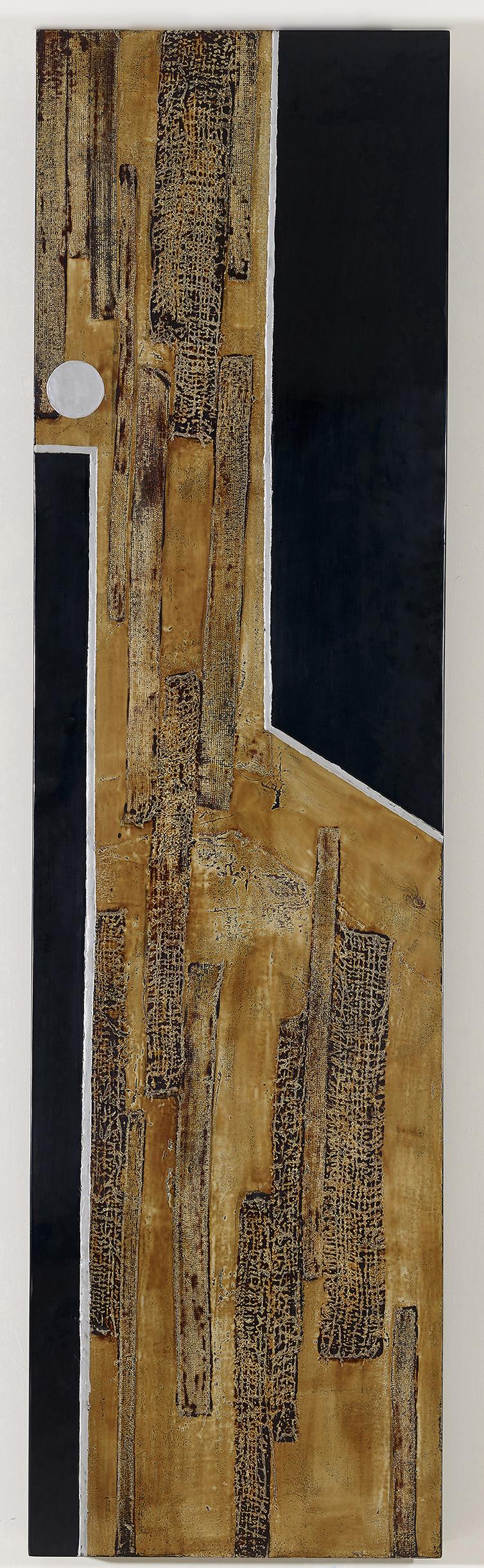 汪天亮 高風亮節之一 185x50cm 漆、綜合媒材