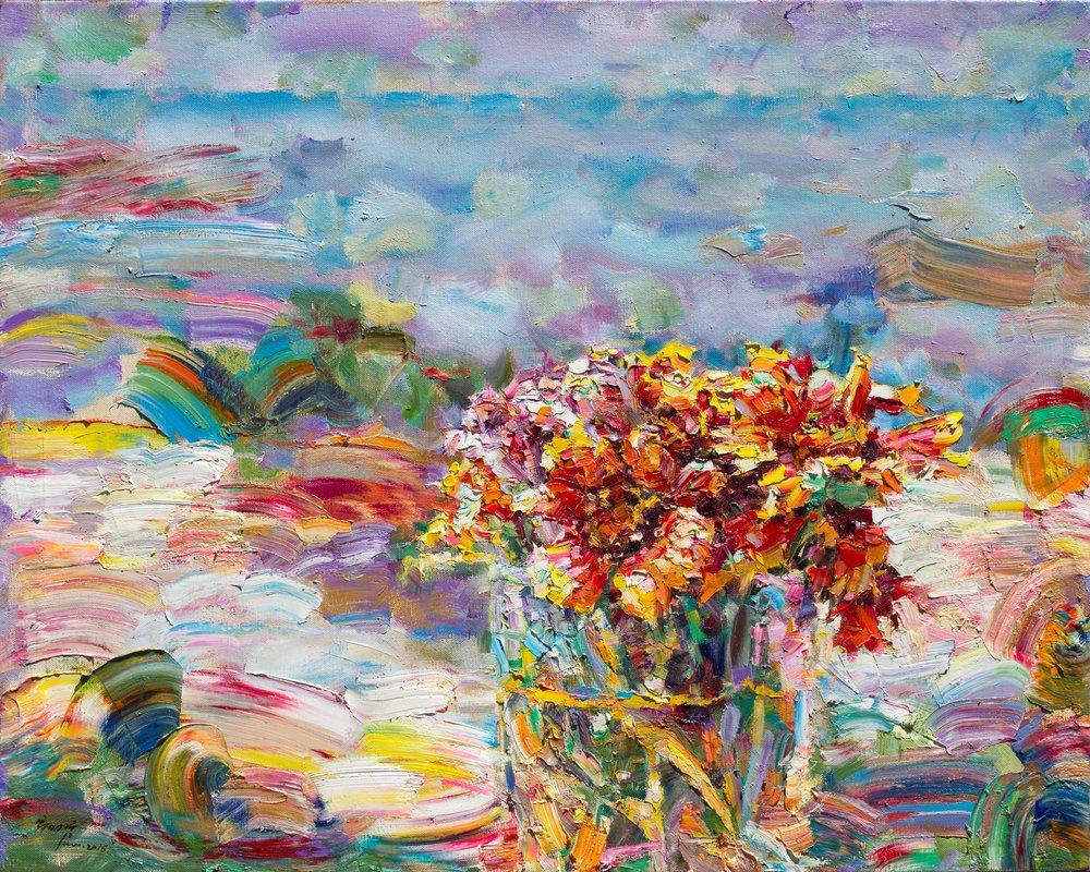 翁明哲 陽台上的天人菊 72.5x91 cm 2016 油彩畫布