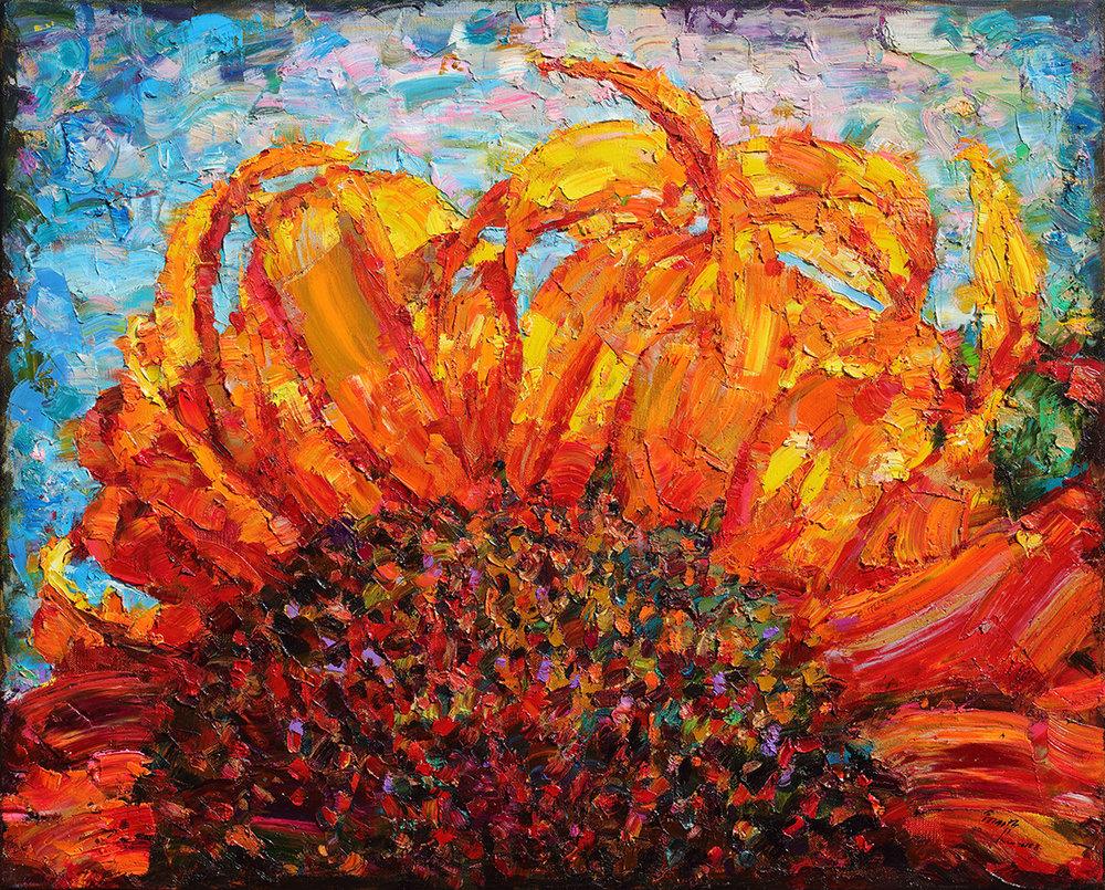 翁明哲 搖頭的向日葵 72.5x91 cm 2016 油彩畫布