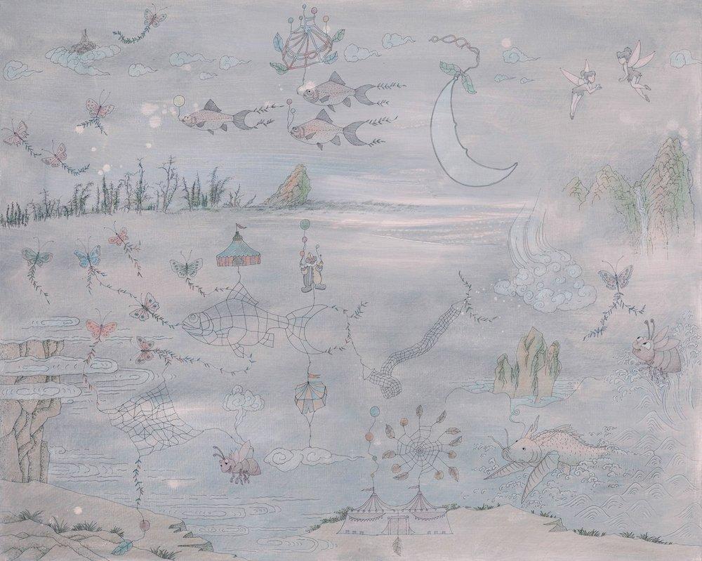 盧明德 月夜物語 130x162 cm 複合媒材 2013