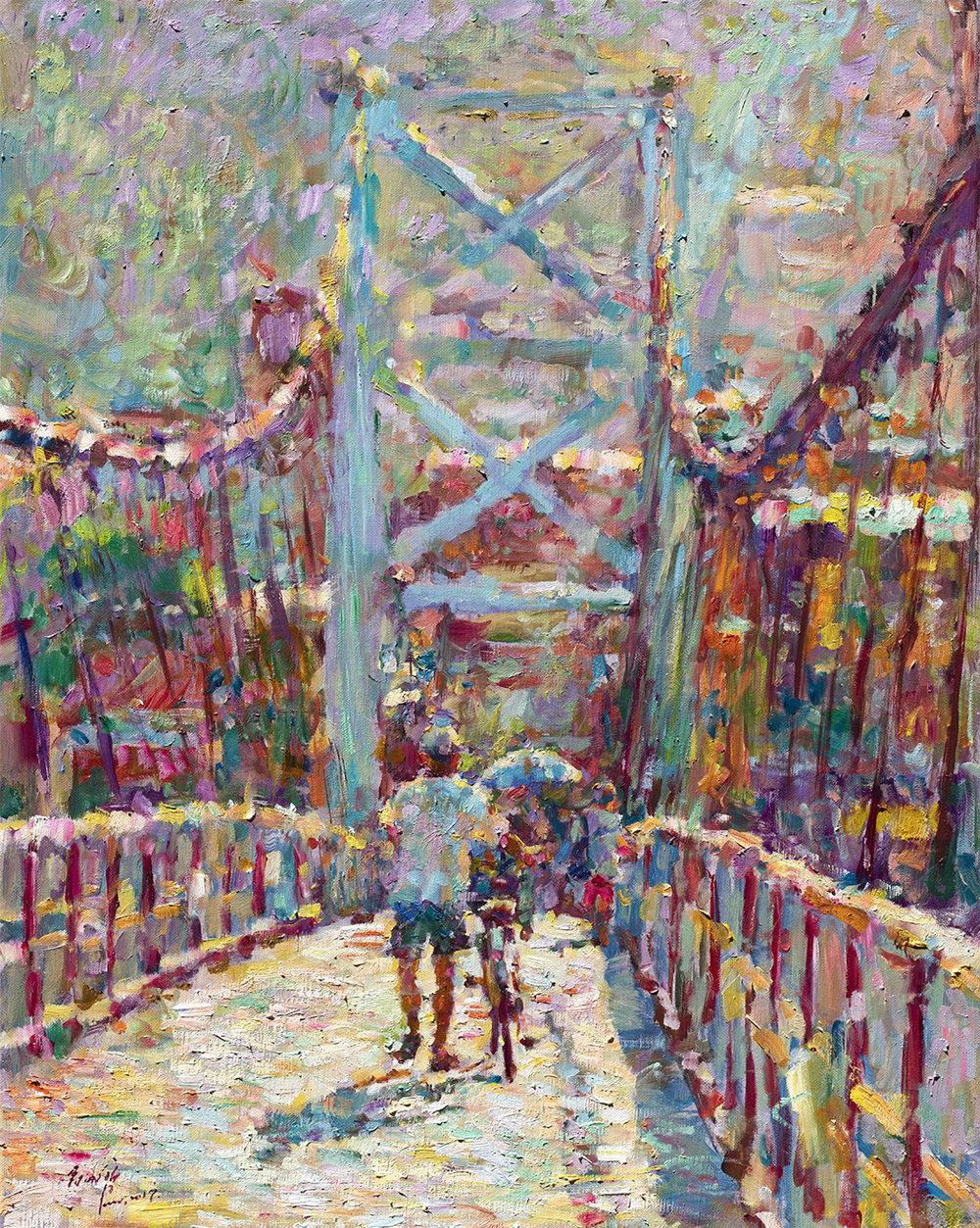 翁明哲 碧潭吊橋 91x72.5 cm 油彩畫布 2017