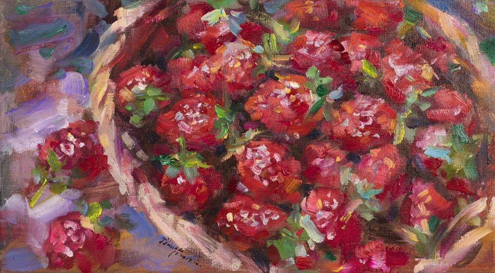 翁明哲 一籃草莓 24x45cm 油彩畫布 2017