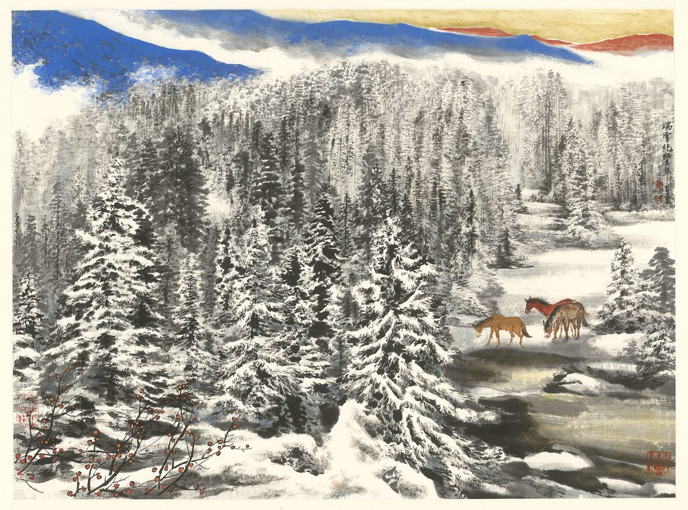 瑞雪兆豐年 69×93cm 水墨設色紙本