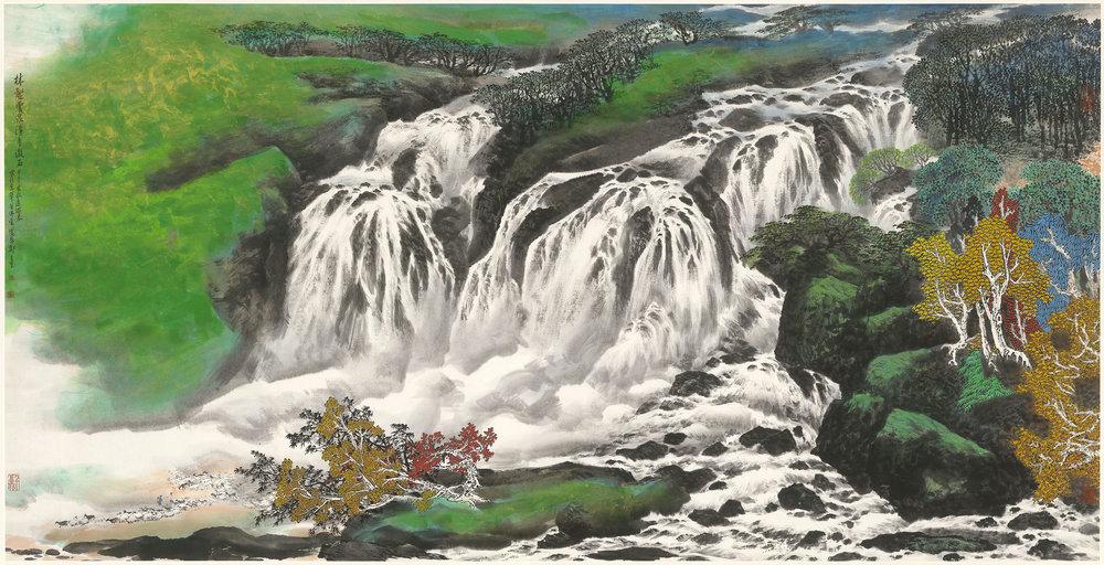林壑雲泉 123×246cm 水墨設色紙本