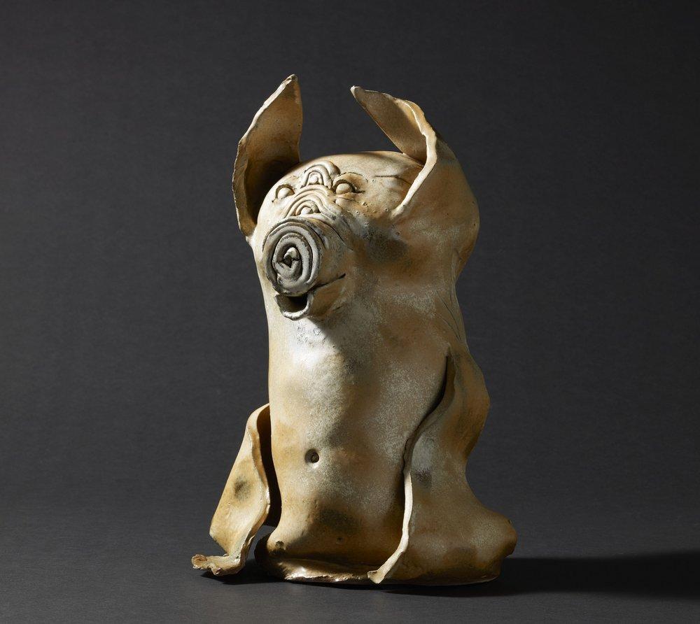 福豬 24x21x37.5cm 彩繪陶雕 1995
