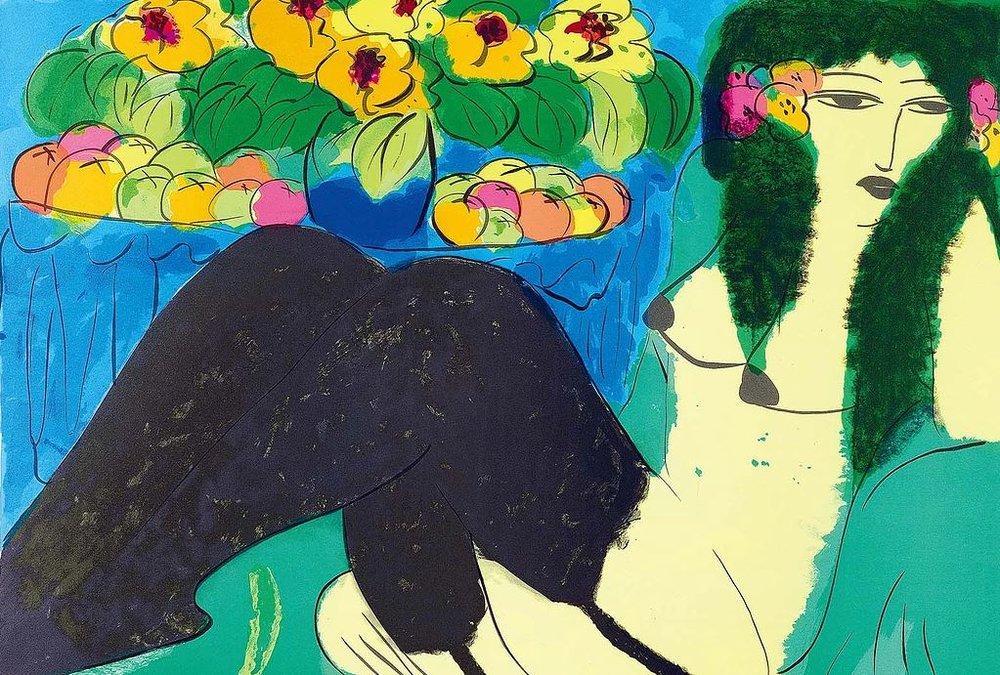 裸女與花 69x97cm 1988 石版畫