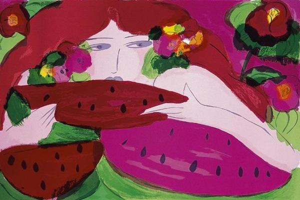 西瓜  61x91 cm  1987  石版畫
